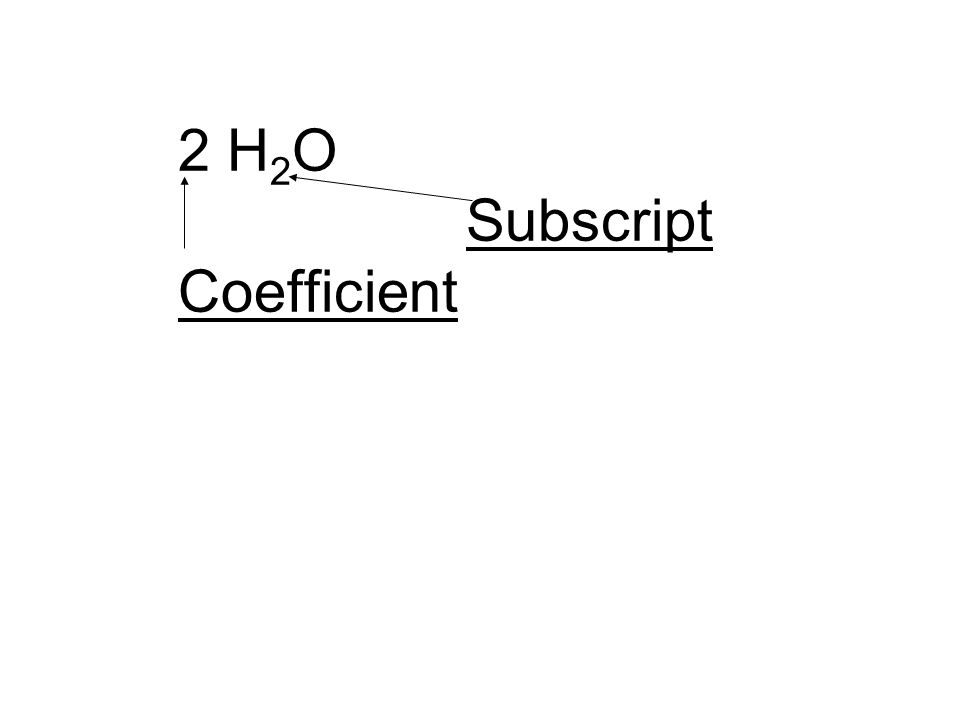 2 H 2 O Subscript Coefficient