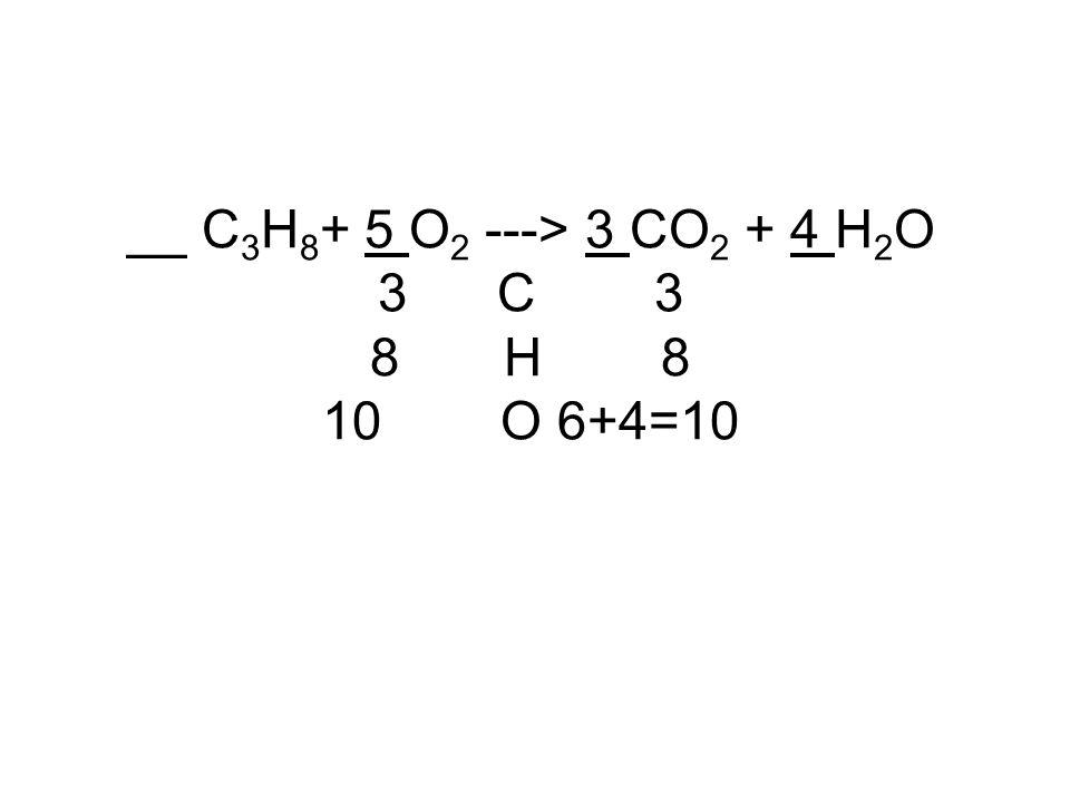 __ C 3 H 8 + 5 O 2 ---> 3 CO 2 + 4 H 2 O 3 C 3 8 H 8 10 O 6+4=10