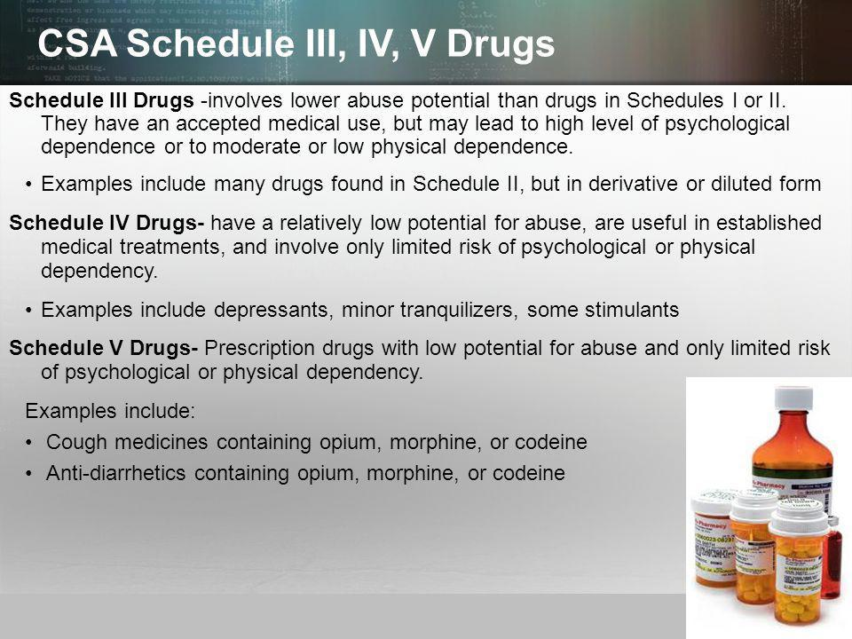 © 2013 by Pearson Higher Education, Inc Upper Saddle River, New Jersey 07458 All Rights Reserved CSA Schedule III, IV, V Drugs Schedule III Drugs -involves lower abuse potential than drugs in Schedules I or II.