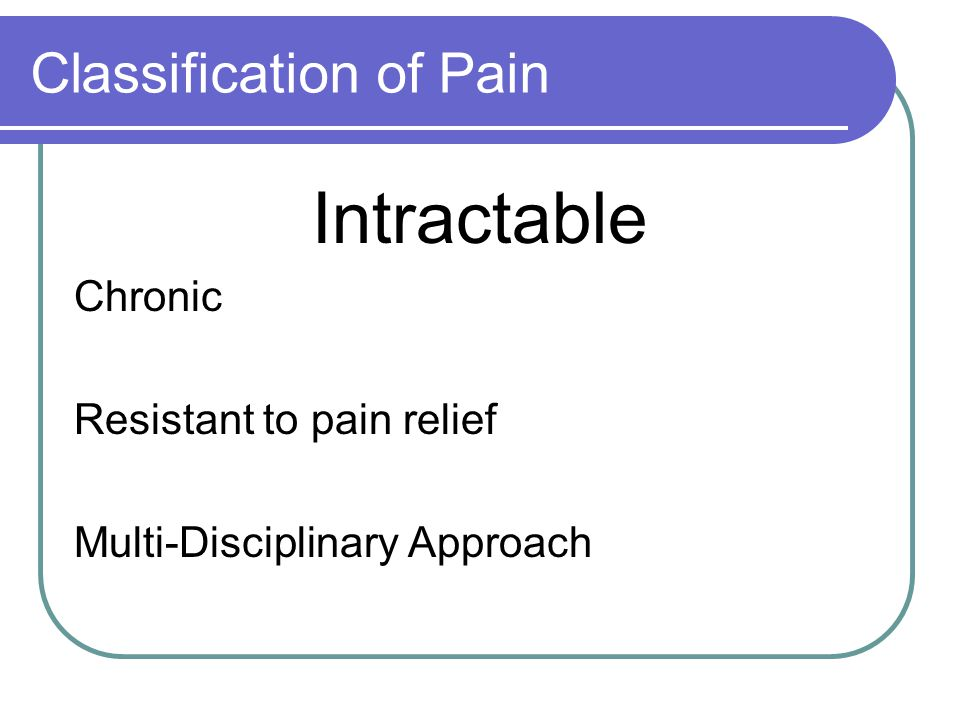 Descriptions of Pain Based on site, cause, duration and quality.