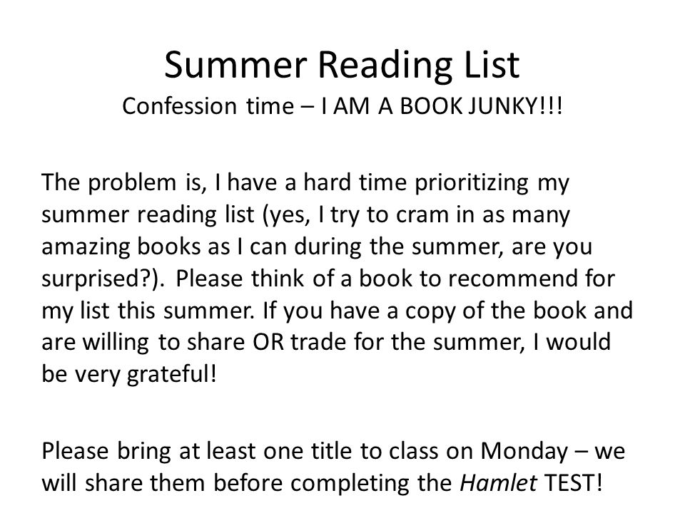 Summer Reading List Confession time – I AM A BOOK JUNKY!!.