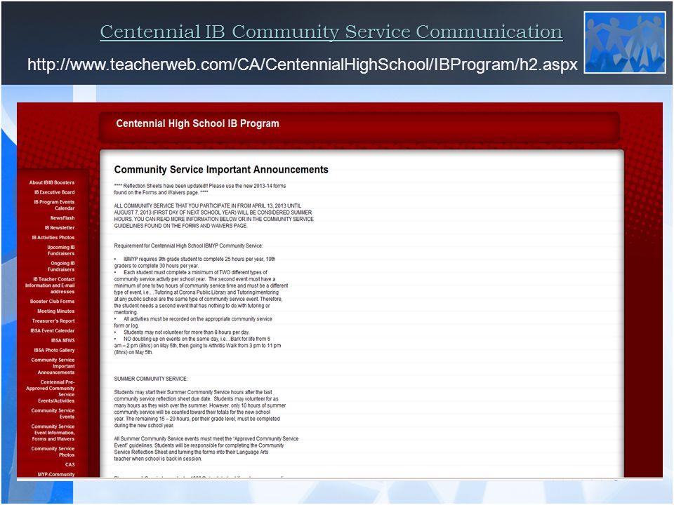Centennial IB Community Service Communication http://www.teacherweb.com/CA/CentennialHighSchool/IBProgram/h2.aspx