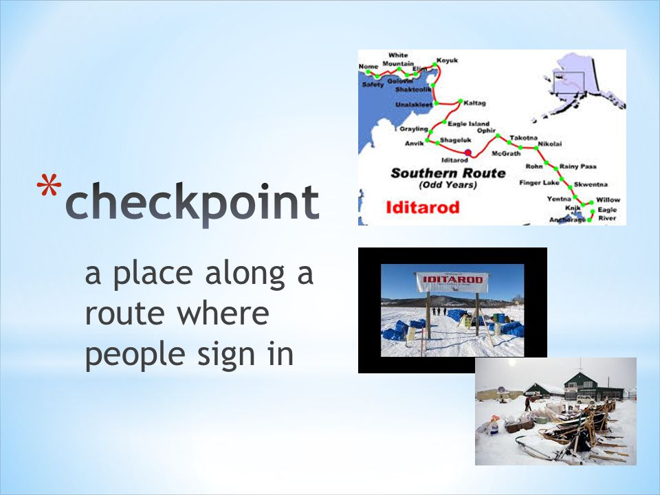 a place along a route where people sign in