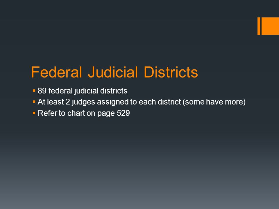 Federal Judicial Districts  89 federal judicial districts  At least 2 judges assigned to each district (some have more)  Refer to chart on page 529
