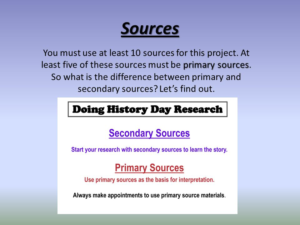 Secondary Source – A source created using primary and secondary sources. It is not time specific.
