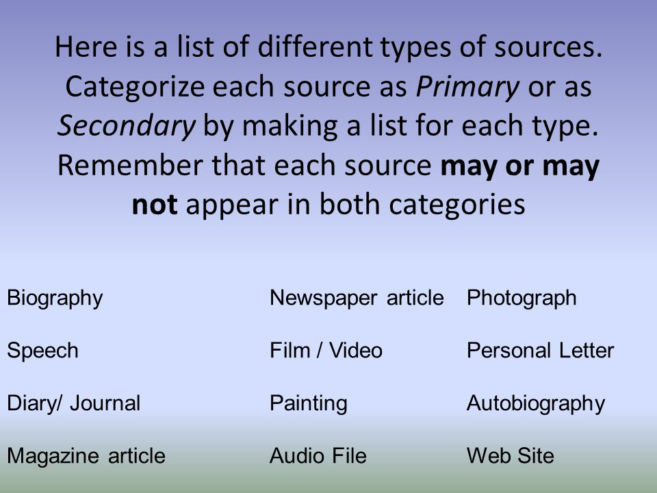 Biographies are always secondary sources