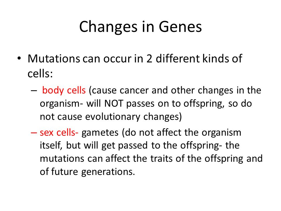 Mutations can occur in 2 different kinds of cells: – body cells (cause cancer and other changes in the organism- will NOT passes on to offspring, so d