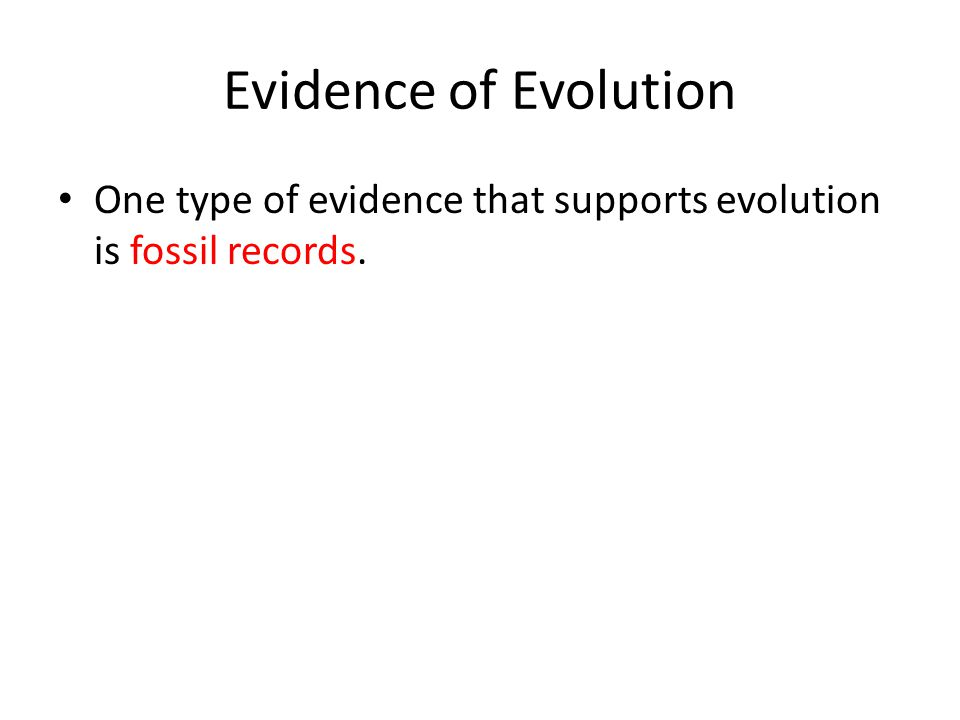 Evidence of Evolution One type of evidence that supports evolution is fossil records.