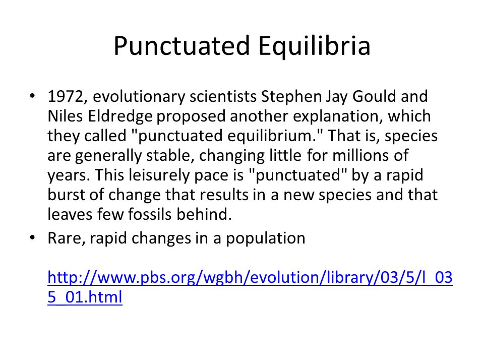 Punctuated Equilibria 1972, evolutionary scientists Stephen Jay Gould and Niles Eldredge proposed another explanation, which they called