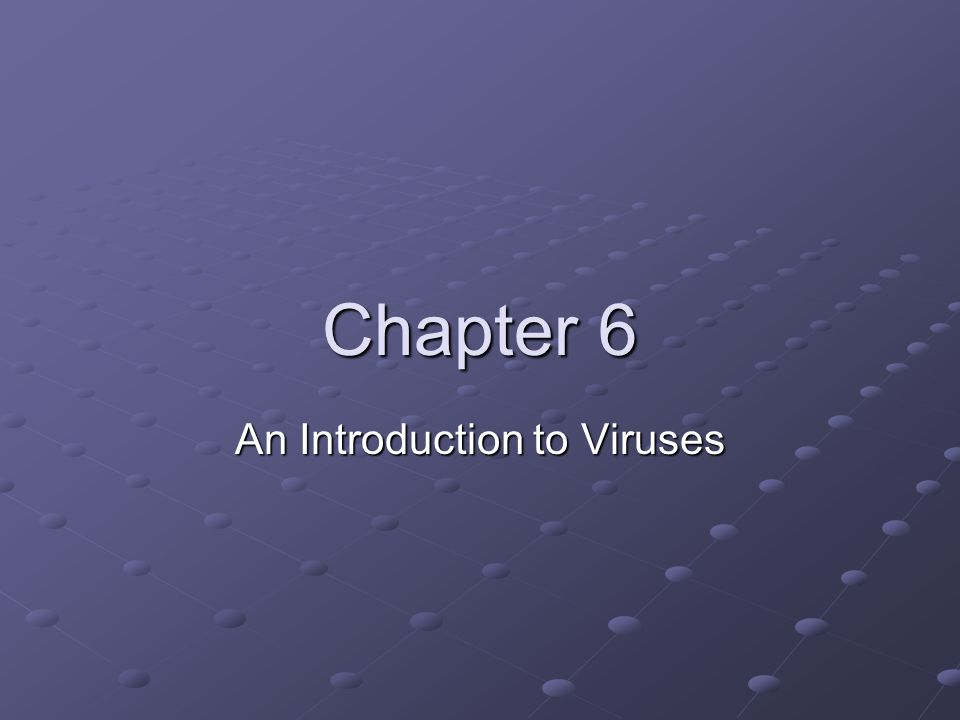 Chapter 6 An Introduction to Viruses