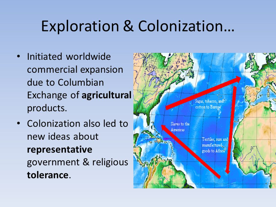 Exploration & Colonization… Initiated worldwide commercial expansion due to Columbian Exchange of agricultural products. Colonization also led to new