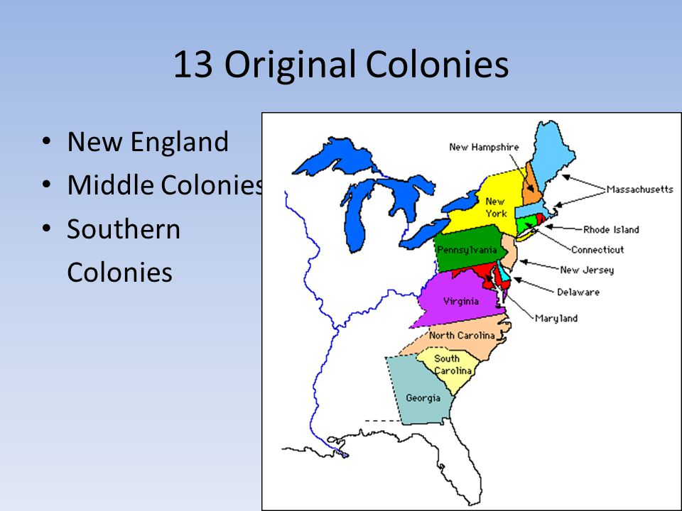 13 Original Colonies New England Middle Colonies Southern Colonies