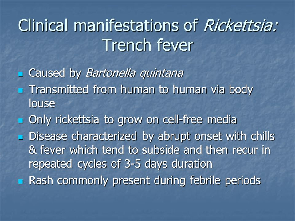 Clinical manifestations of Rickettsia: Trench fever Caused by Bartonella quintana Caused by Bartonella quintana Transmitted from human to human via bo