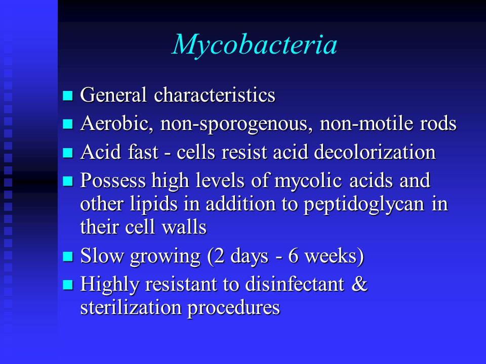 Mycobacteria General characteristics General characteristics Aerobic, non-sporogenous, non-motile rods Aerobic, non-sporogenous, non-motile rods Acid fast - cells resist acid decolorization Acid fast - cells resist acid decolorization Possess high levels of mycolic acids and other lipids in addition to peptidoglycan in their cell walls Possess high levels of mycolic acids and other lipids in addition to peptidoglycan in their cell walls Slow growing (2 days - 6 weeks) Slow growing (2 days - 6 weeks) Highly resistant to disinfectant & sterilization procedures Highly resistant to disinfectant & sterilization procedures