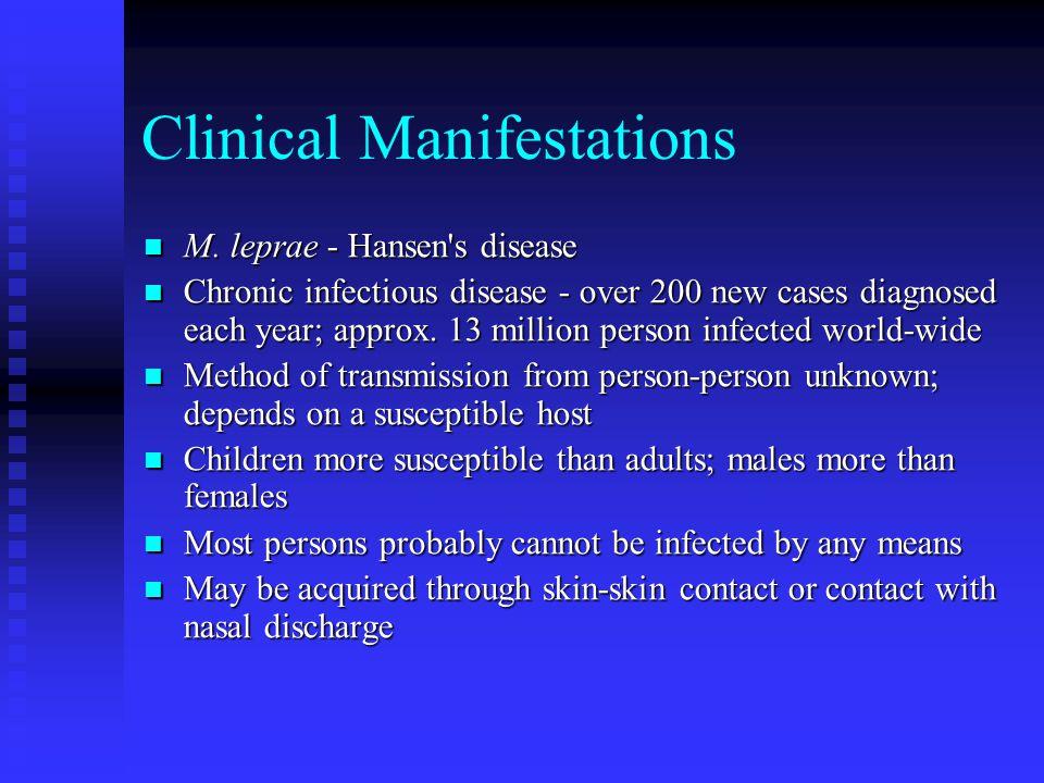 Clinical Manifestations M.leprae - Hansen s disease M.
