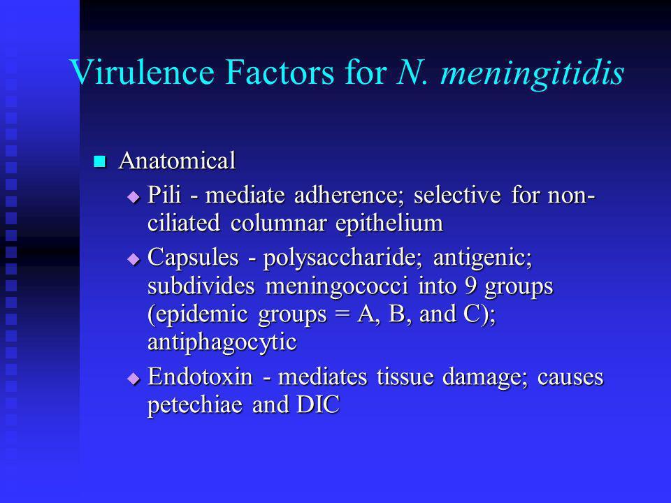 Virulence Factors for N. meningitidis Anatomical Anatomical  Pili - mediate adherence; selective for non- ciliated columnar epithelium  Capsules - p