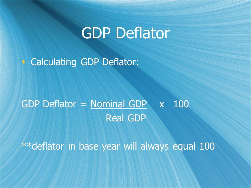 GDP Deflator  Calculating GDP Deflator: GDP Deflator = Nominal GDP x 100 Real GDP **deflator in base year will always equal 100  Calculating GDP Deflator: GDP Deflator = Nominal GDP x 100 Real GDP **deflator in base year will always equal 100