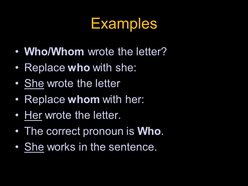 More Examples of Who vs.Whom: For who/whom should I vote.