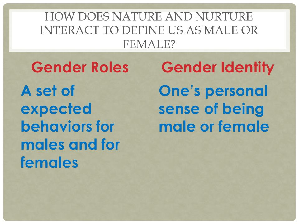 HOW DOES NATURE AND NURTURE INTERACT TO DEFINE US AS MALE OR FEMALE? Gender Roles A set of expected behaviors for males and for females Gender Identit
