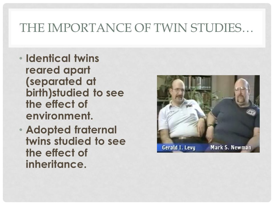 THE IMPORTANCE OF TWIN STUDIES… Identical twins reared apart (separated at birth)studied to see the effect of environment. Adopted fraternal twins stu