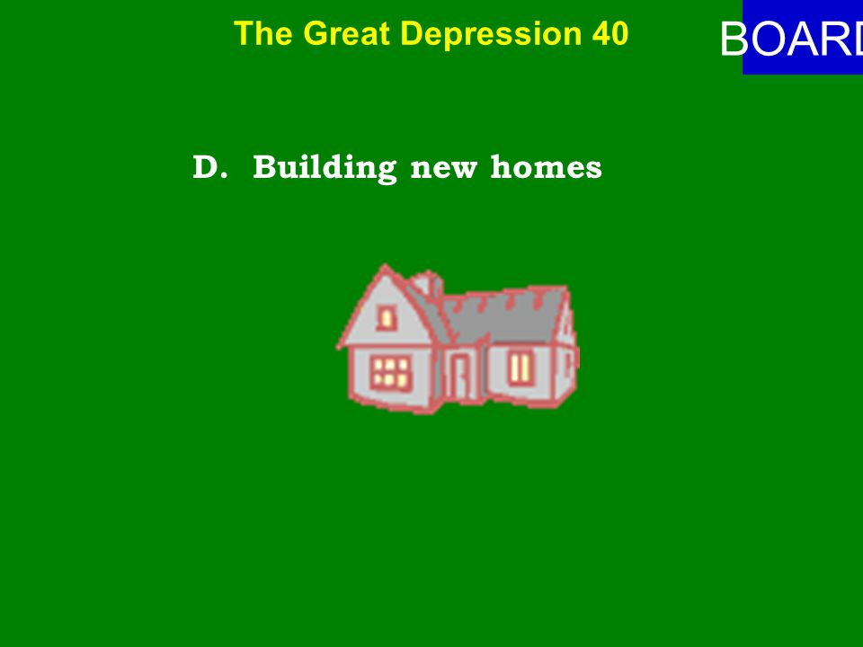 The Great Depression 40 ANSWER Major features of the New Deal included the following except: A.