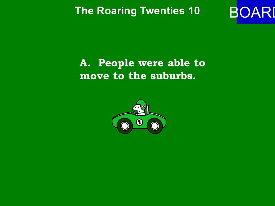 The Roaring Twenties 10 ANSWER How did automobiles impact movement of people in the U.S..