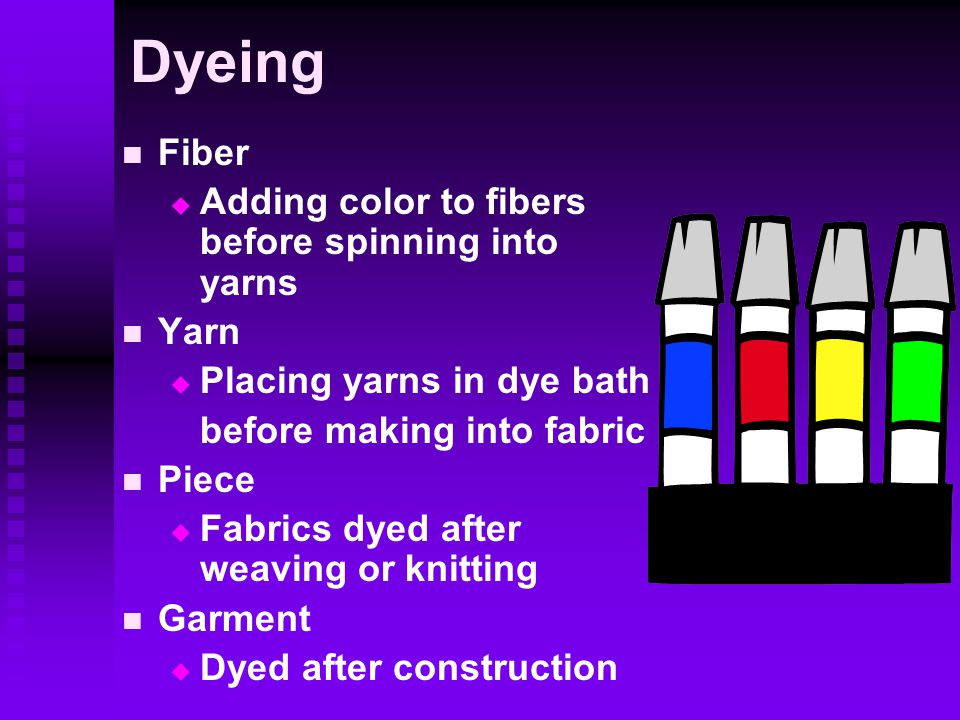 Dyeing Fiber   Adding color to fibers before spinning into yarns Yarn   Placing yarns in dye bath before making into fabric Piece   Fabrics dyed after weaving or knitting Garment   Dyed after construction