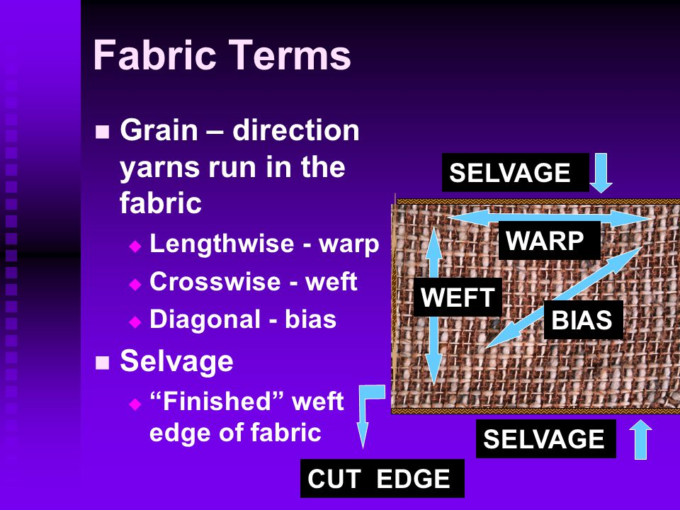 Fabric Terms Grain – direction yarns run in the fabric   Lengthwise - warp   Crosswise - weft   Diagonal - bias Selvage   Finished weft edge of fabric SELVAGE BIAS WARP WEFT CUT EDGE