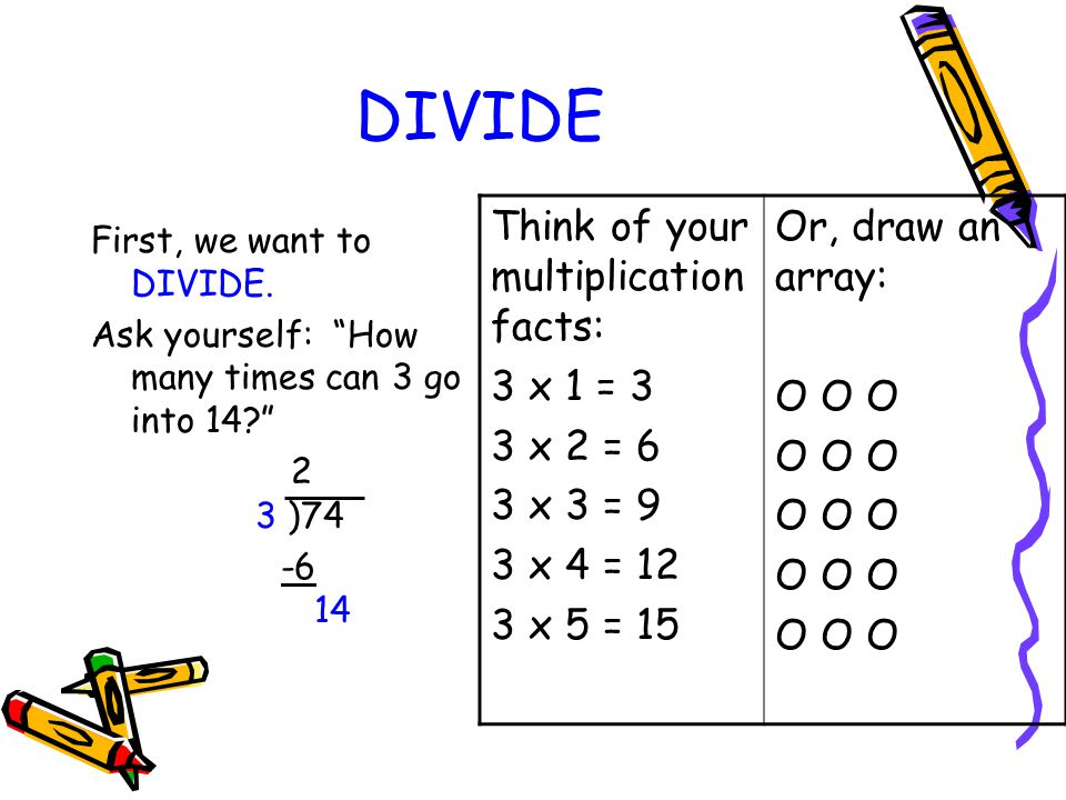 "DIVIDE First, we want to DIVIDE. Ask yourself: ""How many times can 3 go into 14?"" 2 3 )74 -6 14 Think of your multiplication facts: 3 x 1 = 3 3 x 2 ="