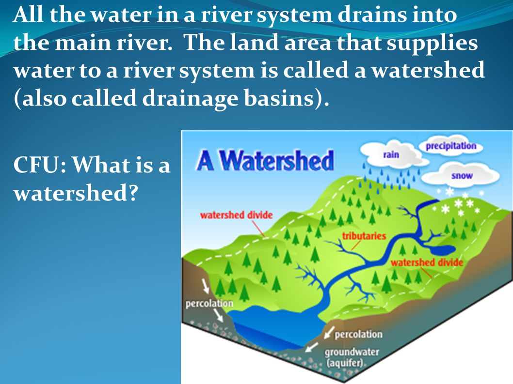 All the water in a river system drains into the main river. The land area that supplies water to a river system is called a watershed (also called dra