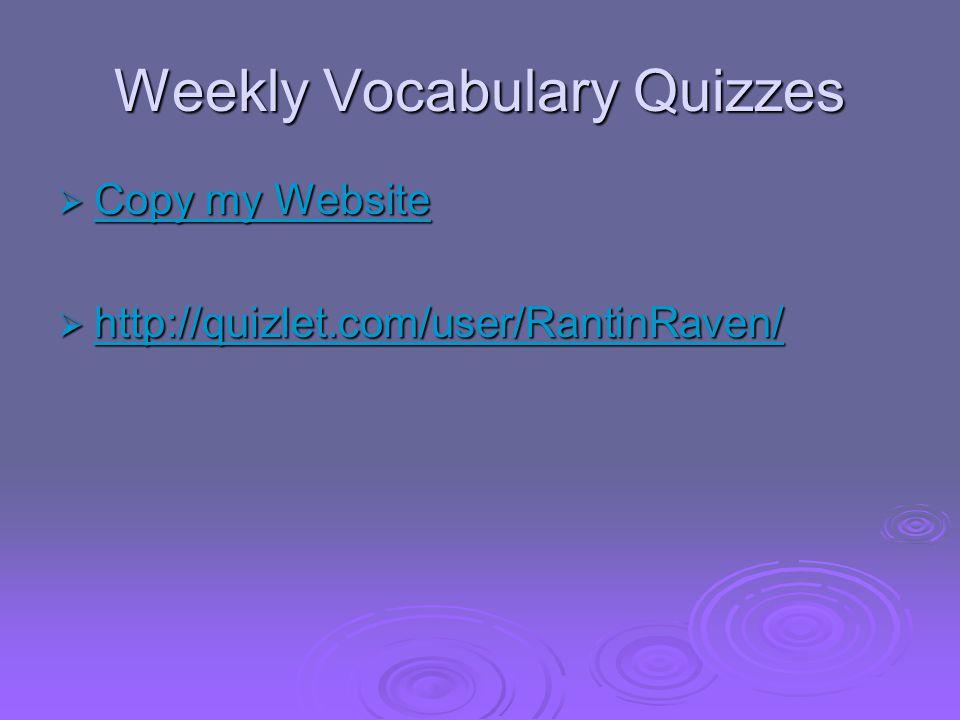 Weekly Vocabulary Quizzes  Copy my Website Copy my Website Copy my Website  http://quizlet.com/user/RantinRaven/ http://quizlet.com/user/RantinRaven/
