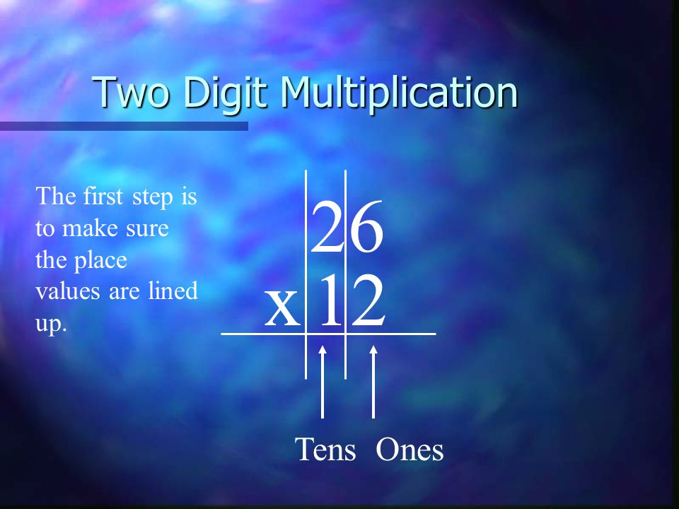 Two Digit Multiplication 26 x12 The first step is to make sure the place values are lined up.