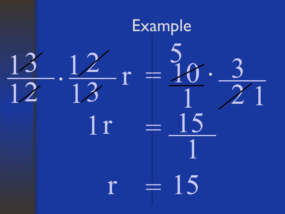 Example 2 3 r= 10 · 3 2 1 11 1 1 r = · 3 2 1 5 1 15 1 r =