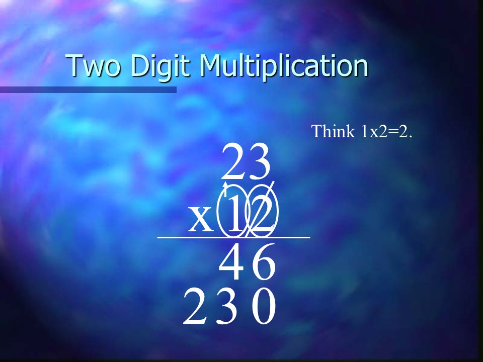 Two Digit Multiplication 23 x12 Think 1x2=2. 64 032