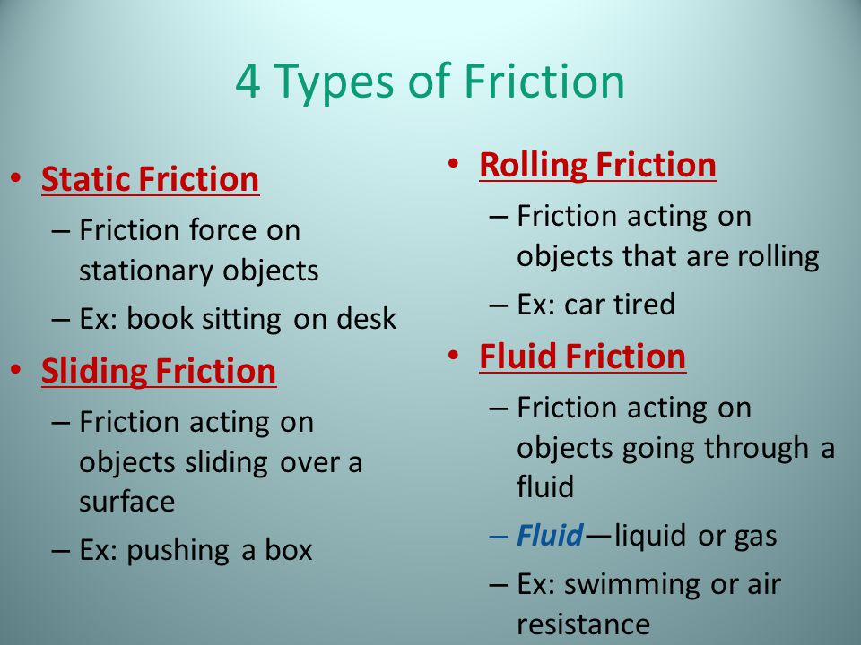 Worksheets Types Of Friction may the force be with you what is a push or pull on an 4 types of friction static stationary objects ex book