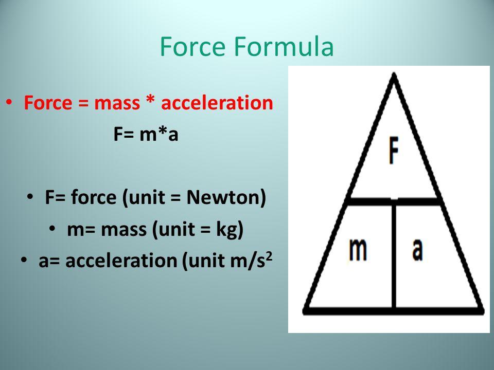 Force Formula Force = mass * acceleration F= m*a F= force (unit = Newton) m= mass (unit = kg) a= acceleration (unit m/s 2
