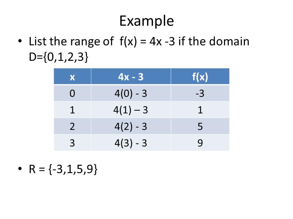 Example List the range of f(x) = 4x -3 if the domain D={0,1,2,3} R = {-3,1,5,9} x4x - 3f(x) 04(0) - 3-3 14(1) – 31 24(2) - 35 34(3) - 39