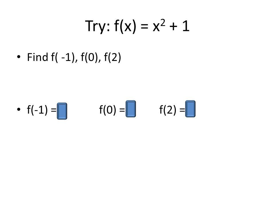 Try: f(x) = x 2 + 1 Find f( -1), f(0), f(2) f(-1) = 2 f(0) = 1 f(2) = 5