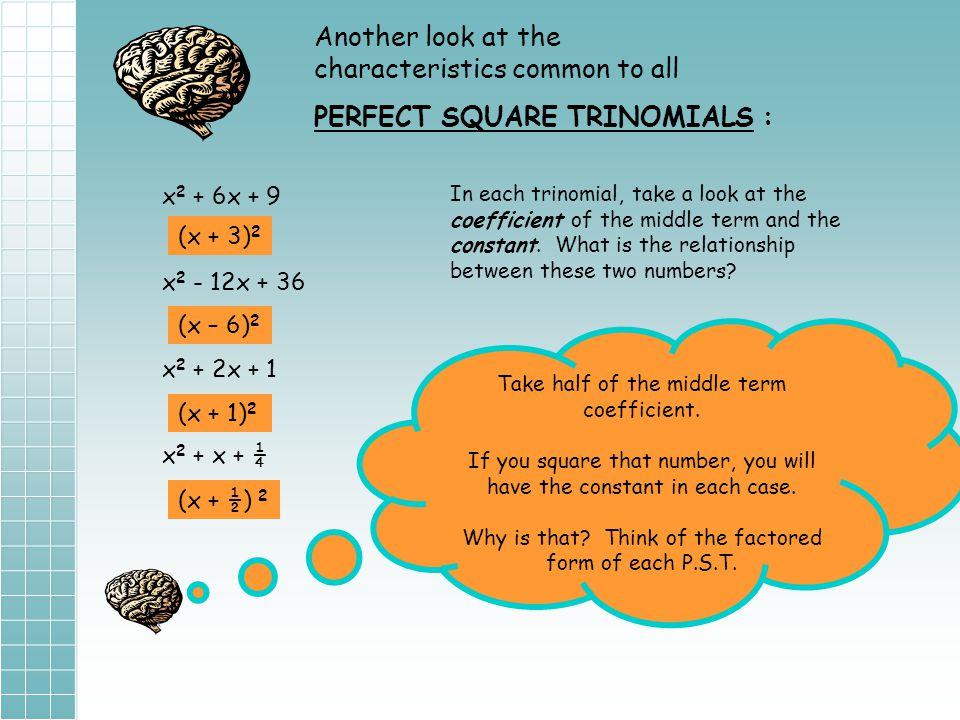 First, a few review topics to refresh your memory……… Solving a quadratic by taking the square root: To solve for x, take the square root of both sides