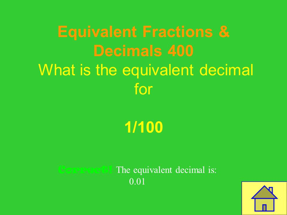 Template by Bill Arcuri, WCSD Equivalent Fractions & Decimals 300 What is the equivalent fraction for 0.45 Correct! 45/100