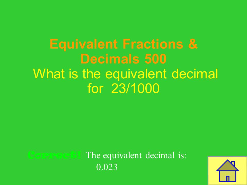 Template by Bill Arcuri, WCSD Equivalent Fractions & Decimals 400 What is the equivalent decimal for 1/100 Correct! The equivalent decimal is: 0.01