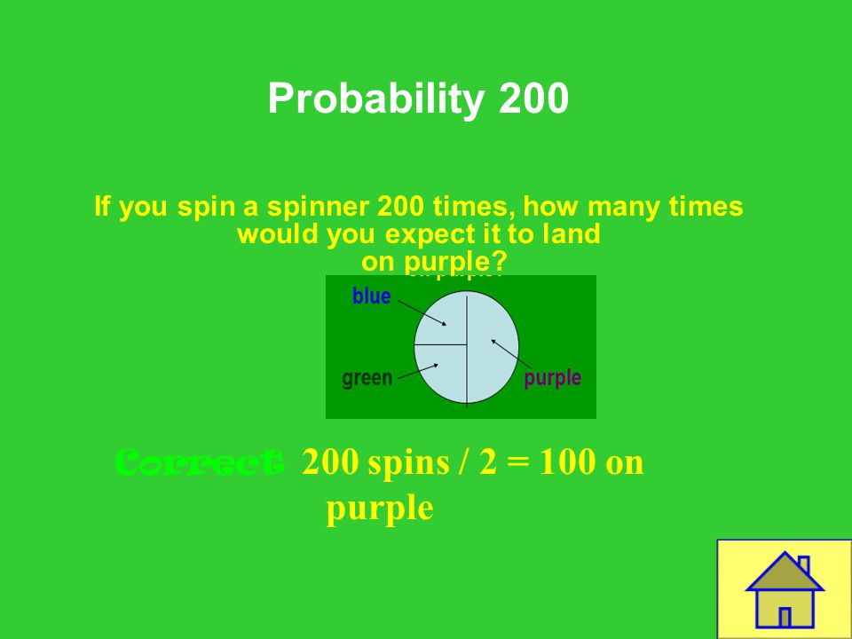 Template by Bill Arcuri, WCSD Probability 200 If you spin a spinner 200 times, how many times would you expect it to land on purple.