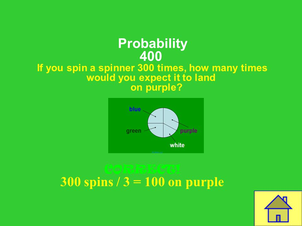 Template by Bill Arcuri, WCSD Probability 400 If you spin a spinner 300 times, how many times would you expect it to land on purple.