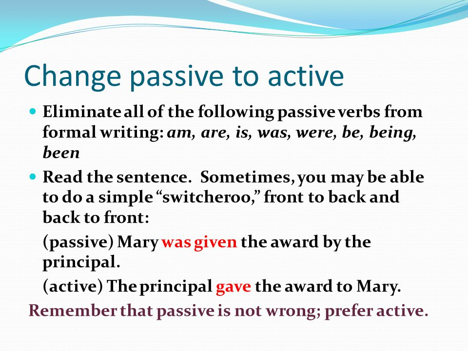 Correcting passive and second person constructions
