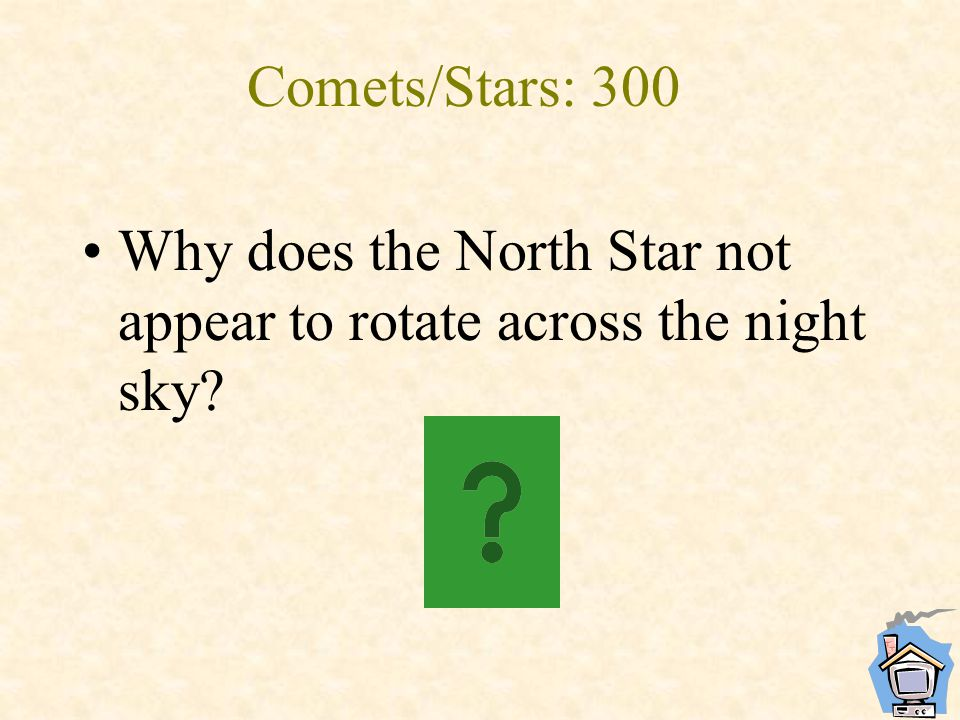 Comets/Stars: 300 Why does the North Star not appear to rotate across the night sky?