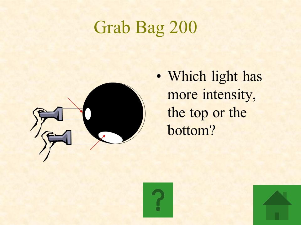 Grab Bag 200 Which light has more intensity, the top or the bottom?
