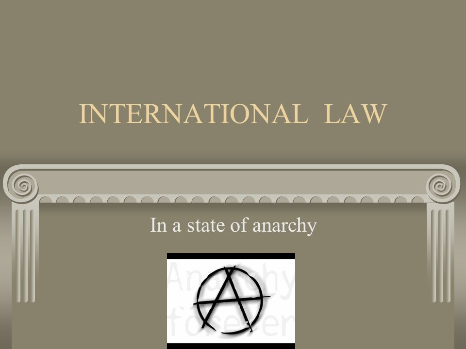 INTERNATIONAL LAW In a state of anarchy