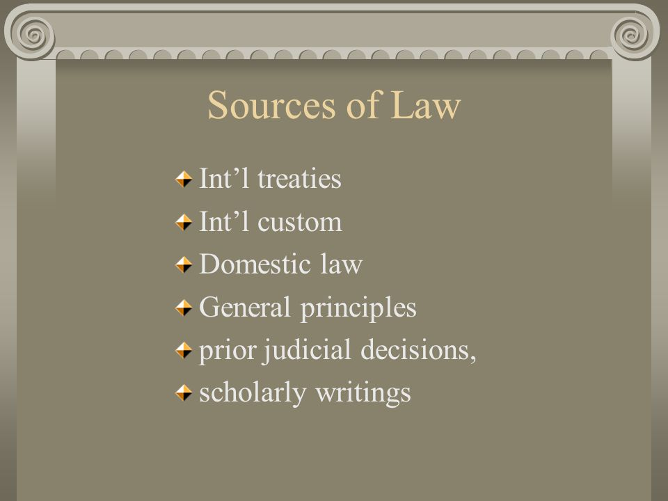 Adherence to Law compliance: coercion by threats or extradition voluntary because members accept it enforcement: self help, no police, peer pressure, ICJ mediation sanctions
