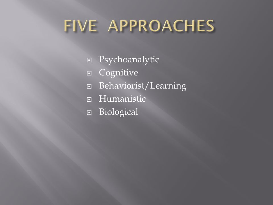  Psychoanalytic  Cognitive  Behaviorist/Learning  Humanistic  Biological