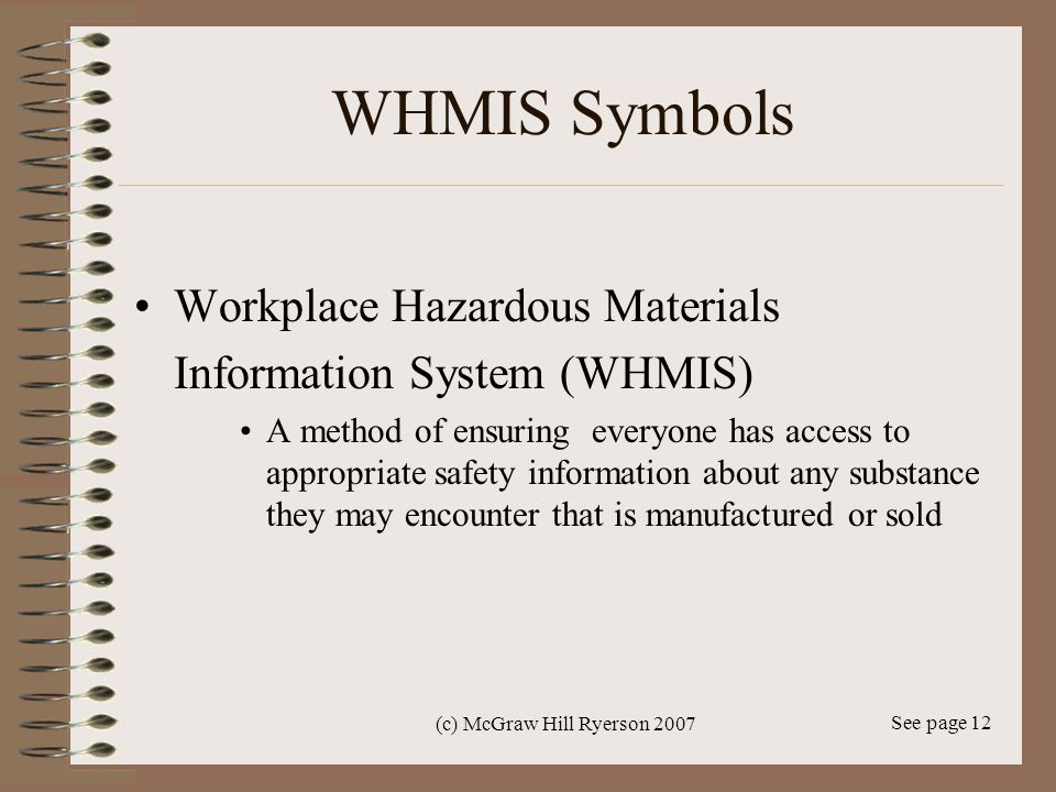 (c) McGraw Hill Ryerson 2007 WHMIS Symbols Workplace Hazardous Materials Information System (WHMIS) A method of ensuring everyone has access to approp